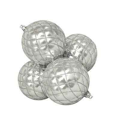 "Diamond Shatterproof Christmas Ball Ornament Size: 3.75"" W x 3.75"" D, Color: Silver Splendor"