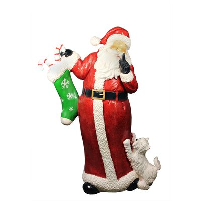 """48.5"""" Commercial Size Santa Claus with Puppy Dog Christmas Display Decoration"""