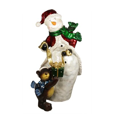 """48"""" Commercial Size Snowman with Bear Christmas Display Decoration"""