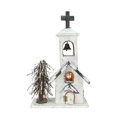 Lighted Snowy White Glitter Wooden Church Christmas Table Top Decoration