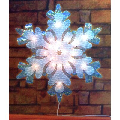 Lighted Holographic Tinsel Snowflake Christmas Window Silhouette Decoration