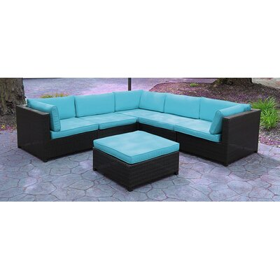 Outdoor Furniture Sectional Sofa Set with Cushions Fabric: Blue
