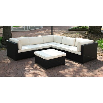 Outdoor Furniture Sectional Sofa Set with Cushions Fabric: White
