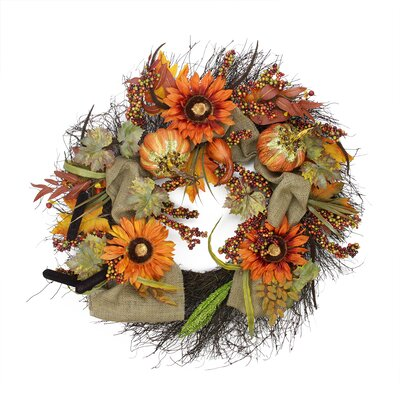 Faux Harvest Sunflower & Pumpkin Wreath 2151760