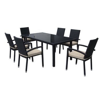 7 Piece Dining Set with Cushions Finish: Beige