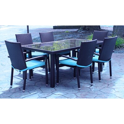 7 Piece Dining Set with Cushions Finish: Blue