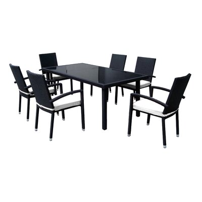 7 Piece Dining Set with Cushions Finish: White