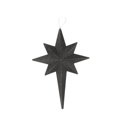 Glittered Bethlehem Star Shatterproof Christmas Ornament Color: Jet Black