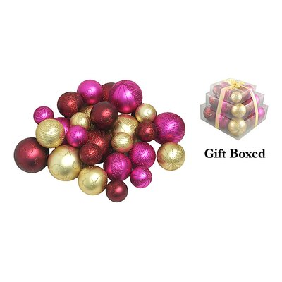 Shatterproof Christmas Ball Ornament Color: Merlot Gold/Fuchsia