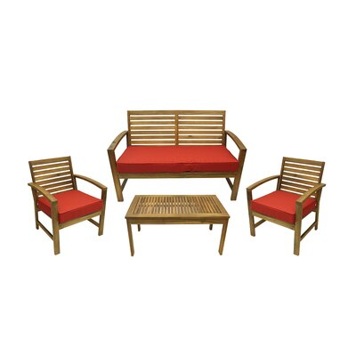 4 Piece Outdoor Patio Table and Chair Furniture Set with Cushions