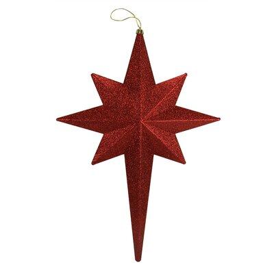 Glittered Bethlehem Star Shatterproof Christmas Ornament Color: Burgundy