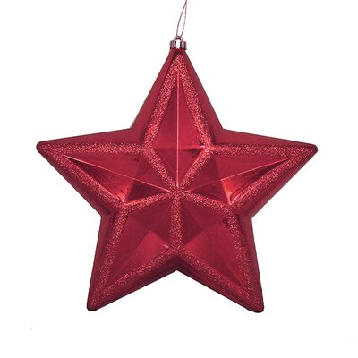 Shiny Glitter Commercial Size Shatterproof Star Christmas Ornament Color: Burgundy