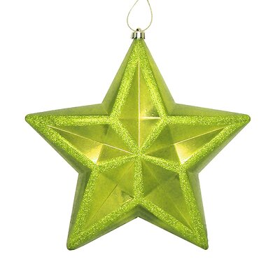 Shiny Glitter Commercial Size Shatterproof Star Christmas Ornament Color: Green Kiwi