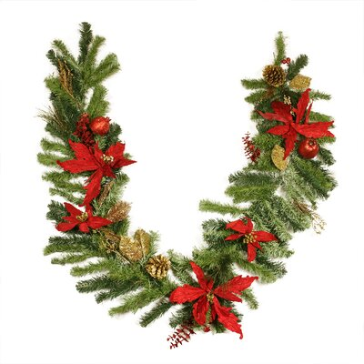 Pre Decorated Pine Poinsettia Berry and Pine Cone Artificial Christmas Garland K41886G