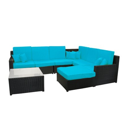 8 Piece Sectional Sofa Set with Cushions Fabric: Blue
