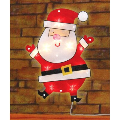 Lighted Shimmering Santa Claus Christmas Window Silhouette Decoration
