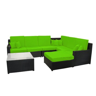 8 Piece Sectional Sofa Set with Cushions Fabric: Lime Green