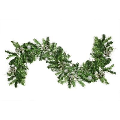 Pre Decorated Silver Holly Berry Apple and Twig Artificial Christmas Garland