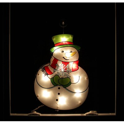 Lighted Holographic Snowman Christmas Window Silhouette Decoration