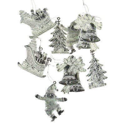 Glitter Santa Claus Bell and Sleigh Christmas Ornament