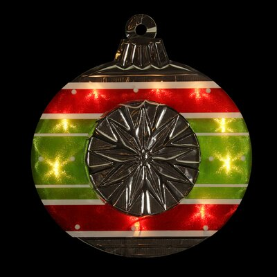 Lighted Shimmering and Silver Ornament Christmas Window Silhouette Decoration Color: Red/Green/White/Purple