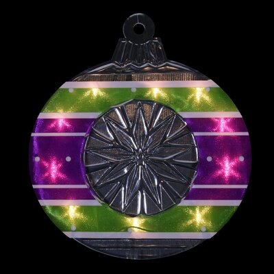 Lighted Shimmering and Silver Ornament Christmas Window Silhouette Decoration Color: Purple/Green/White/Purple