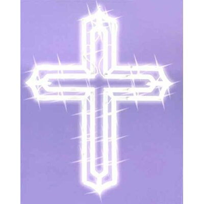 Lighted Religious Cross Easter Window Silhouette Decoration
