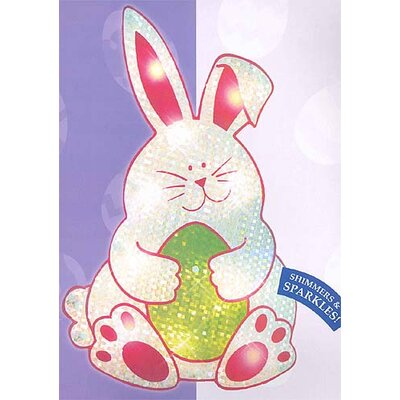 Lighted Shimmering Easter Bunny Window Silhouette Decoration