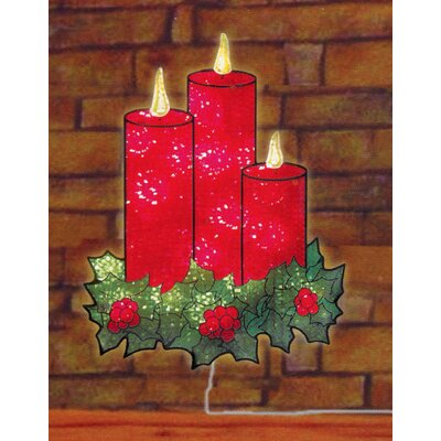 Lighted Holographic Candles and Holly Christmas Window Silhouette Decoration
