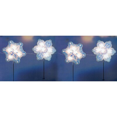 4 Piece Holographic Snowflake Lighted Christmas Pathway Marker Stake Set