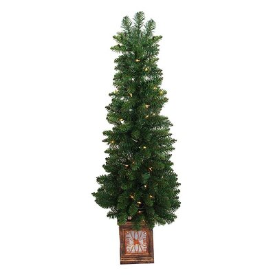 4' Fancy Potted Aurora Pine Artificial Christmas Tree with Clear Light