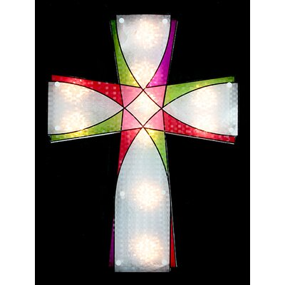 Lighted Holographic Religious Cross Easter Window Silhouette Decoration