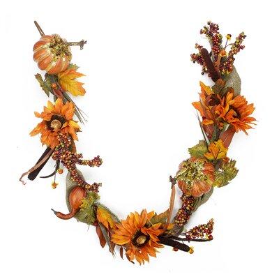 Gourd and Orange Sunflower Harvest Gathering Artificial Thanksgiving Garland 2151770