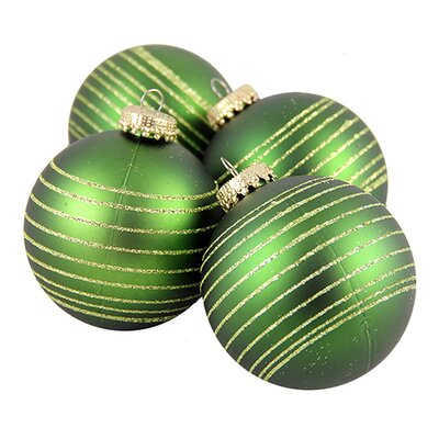 Pinstripe Shatterproof Christmas Ball Ornament Color: Green/Gold