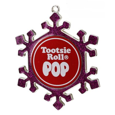 Pink Snowflake Tootsie Roll Pop Candy Logo Christmas Ornament with European Crystal