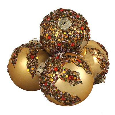 Glitter Sequin Beaded Shatterproof Christmas Ball Ornament Color: Gold
