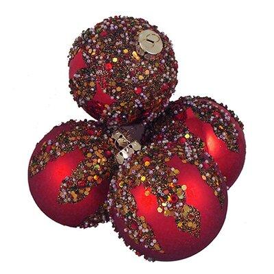 Glitter Sequin Beaded Shatterproof Christmas Ball Ornament Color: Red