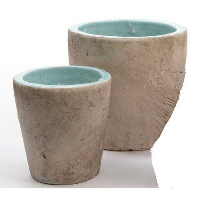 Seaside Treasures 2-Piece Clay Pot Planter Set Color: Aruba Blue/Taupe 31524360