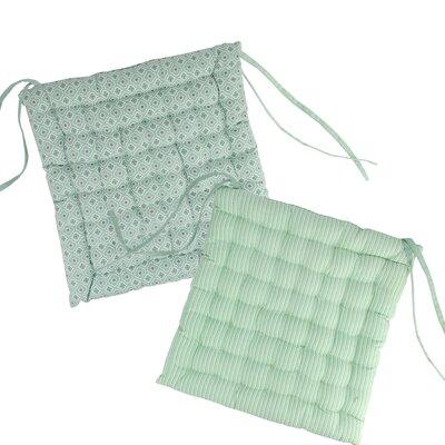 New Romance Chair Cushion Fabric: Spring Green/White