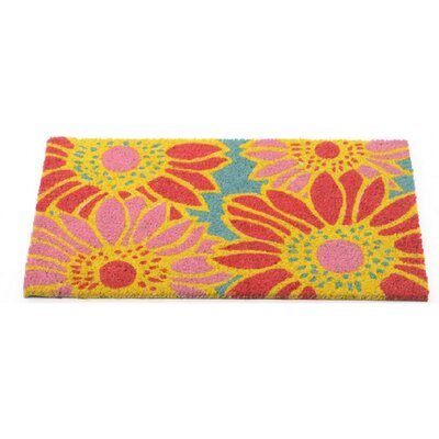 Fancy Fair Flamboyant Zinnias Coir Doormat