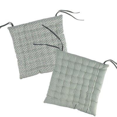 New Romance Chair Cushion Fabric: Gray/White