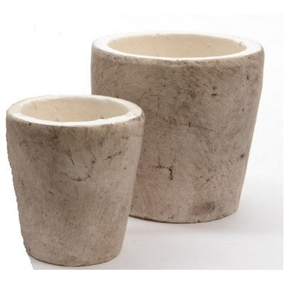 Seaside Treasures 2-Piece Clay Pot Planter Set Color: White Sand/Taupe 31524364