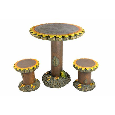 3 Piece Sunflower Table and Chair Novelty Garden Patio Furniture Set