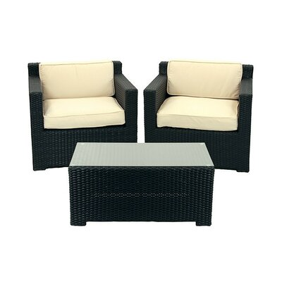 3 Piece Outdoor Patio Furniture Set with Cushions Fabric: Beige