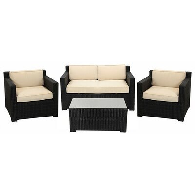 4 Piece Outdoor Patio Furniture Set with Cushions Fabric: Beige