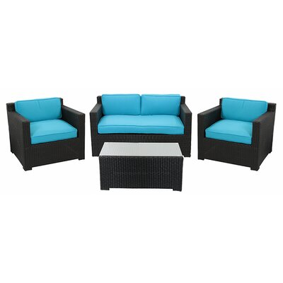 4 Piece Outdoor Patio Furniture Set with Cushions Fabric: Blue