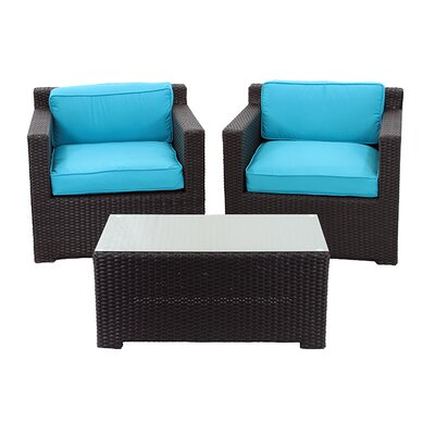 3 Piece Outdoor Patio Furniture Set with Cushions Fabric: Blue