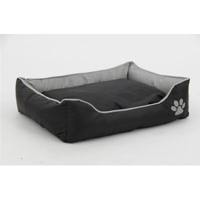 Waterproof Plush Oxford Pet Sleeper Lounge Bolster Size: Large (35.5 L x 24.5 W), Color: Gray/Black