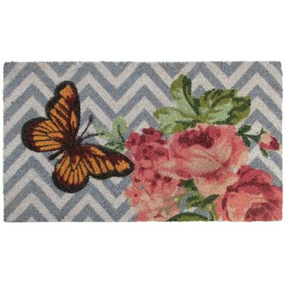 Spring Rose and Butterfly Doormat