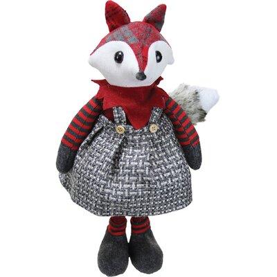 Charming Plaid Country Girl Fox Decorative Christmas Tabletop Figure
